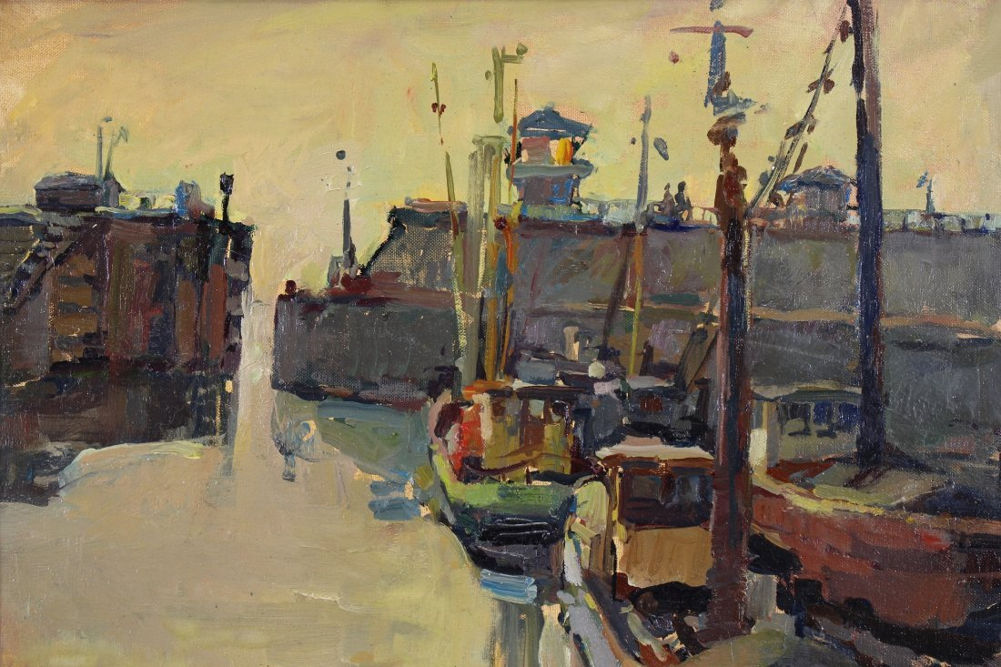 Signed, European School Canal Scene- Ex Christie's - 2