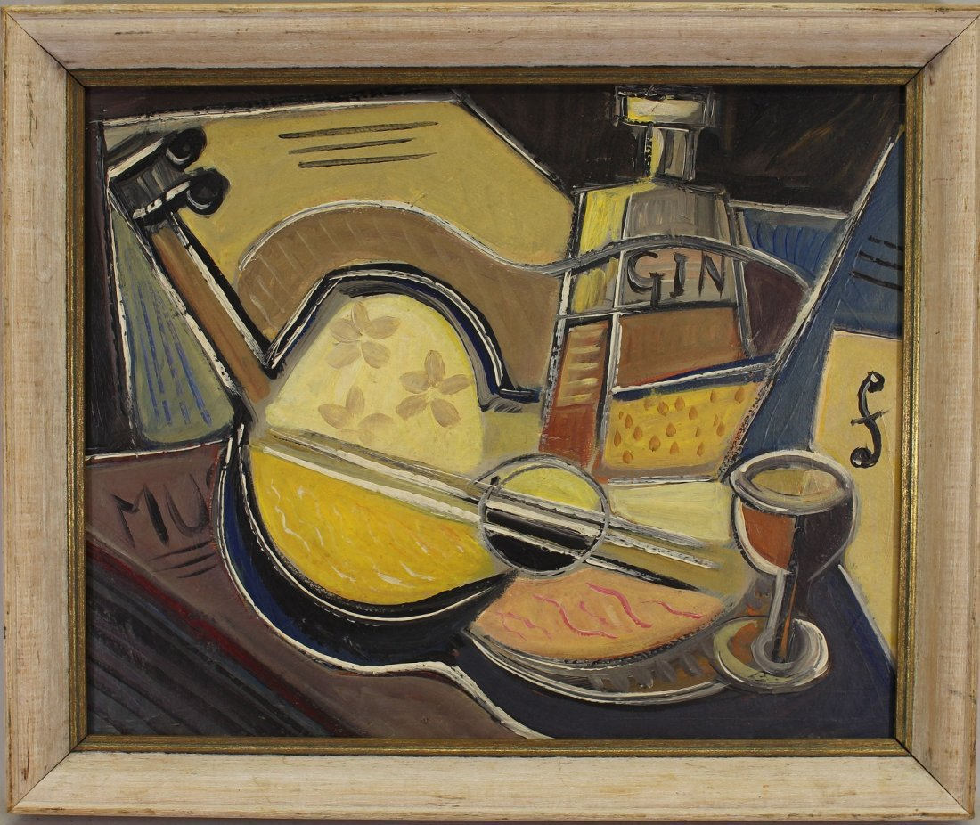 """American School, 20th C. Cubist Abstract """"Gin"""""""