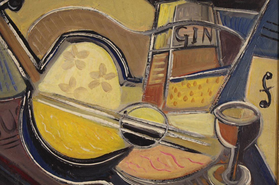 """American School, 20th C. Cubist Abstract """"Gin"""" - 2"""