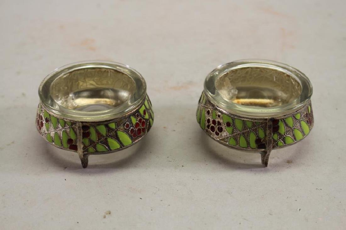 Russian Enameled Silver Open Salts, Signed