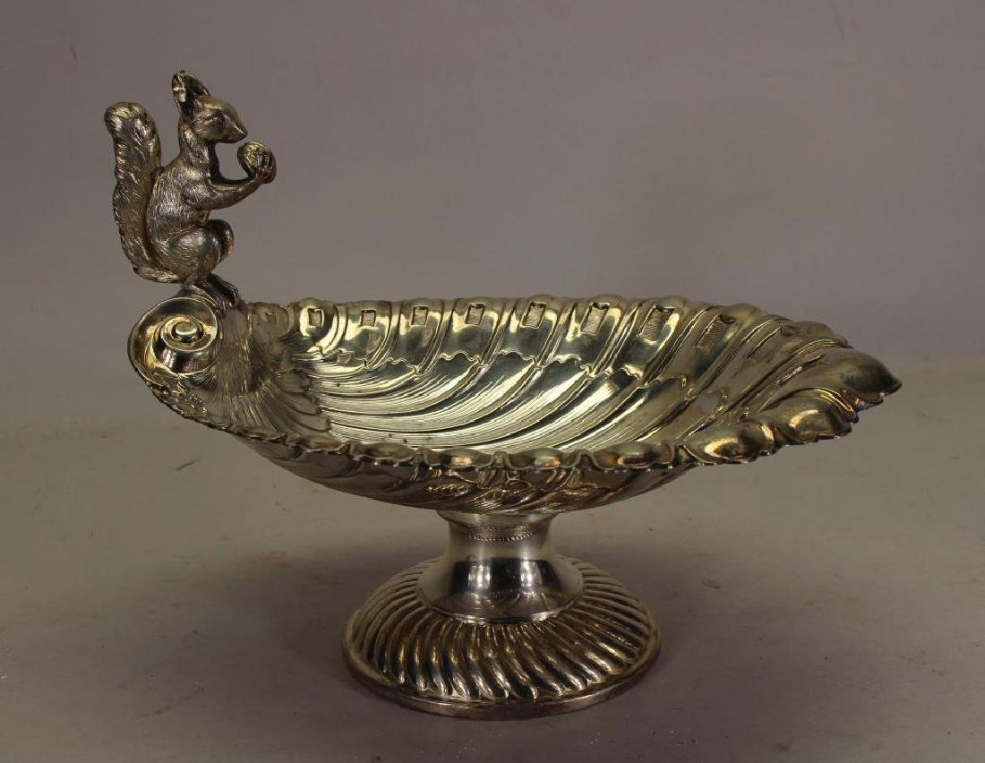 Silverplate Nut Dish with Squirrel