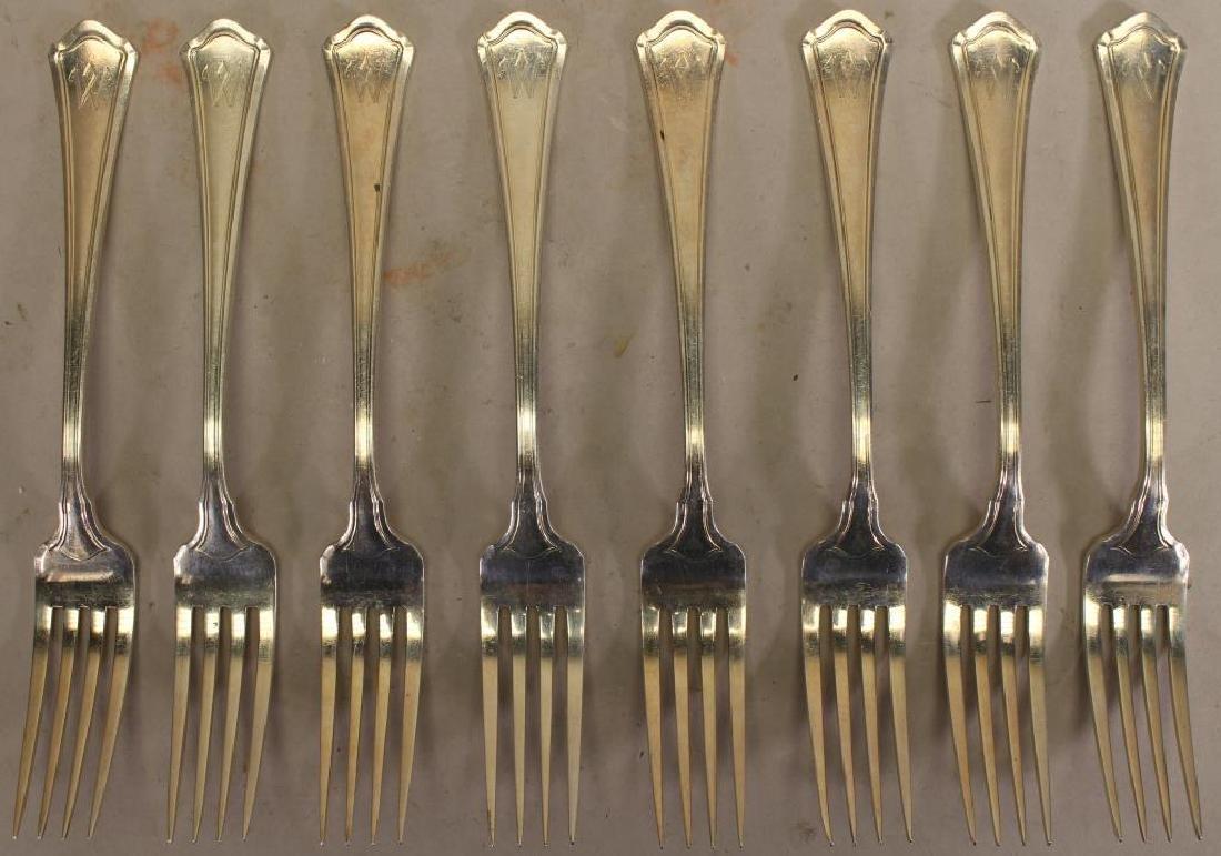 """(8) Monogrammed """"W"""" Sterling Silver Forks"""