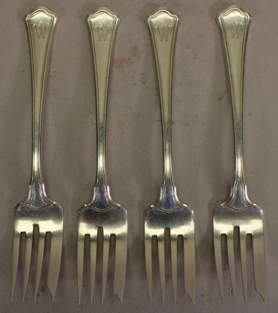 "(4) Monogrammed ""W"" Sterling Silver Fish Forks"