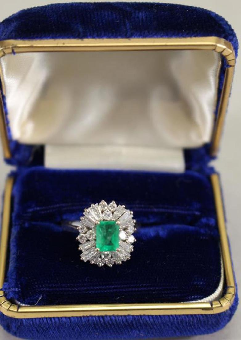 14K White Gold Emerald/Diamond Ring - 2
