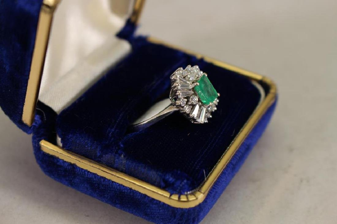 14K White Gold Emerald/Diamond Ring - 3
