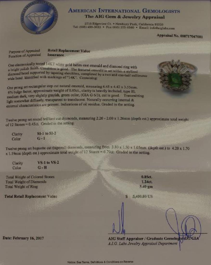 14K White Gold Emerald/Diamond Ring - 5