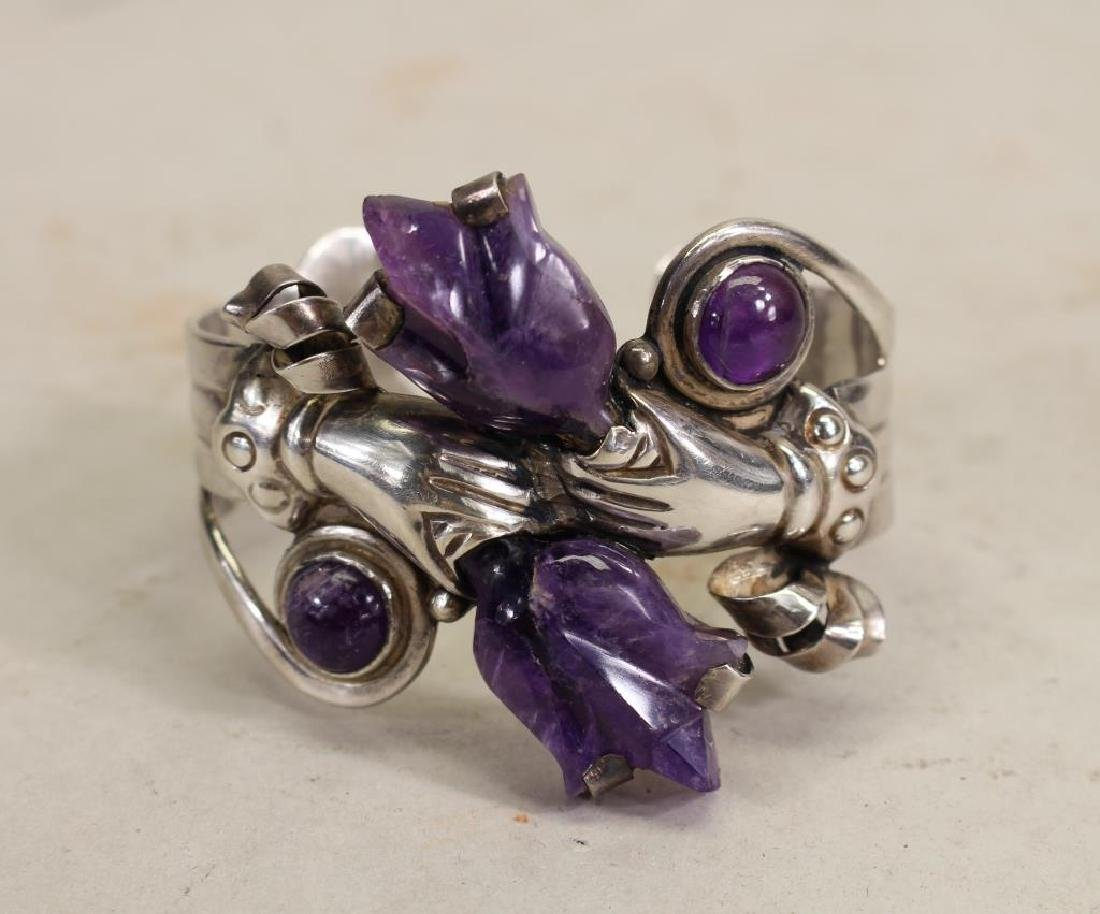 Mexican Silver & Amethyst Bracelet