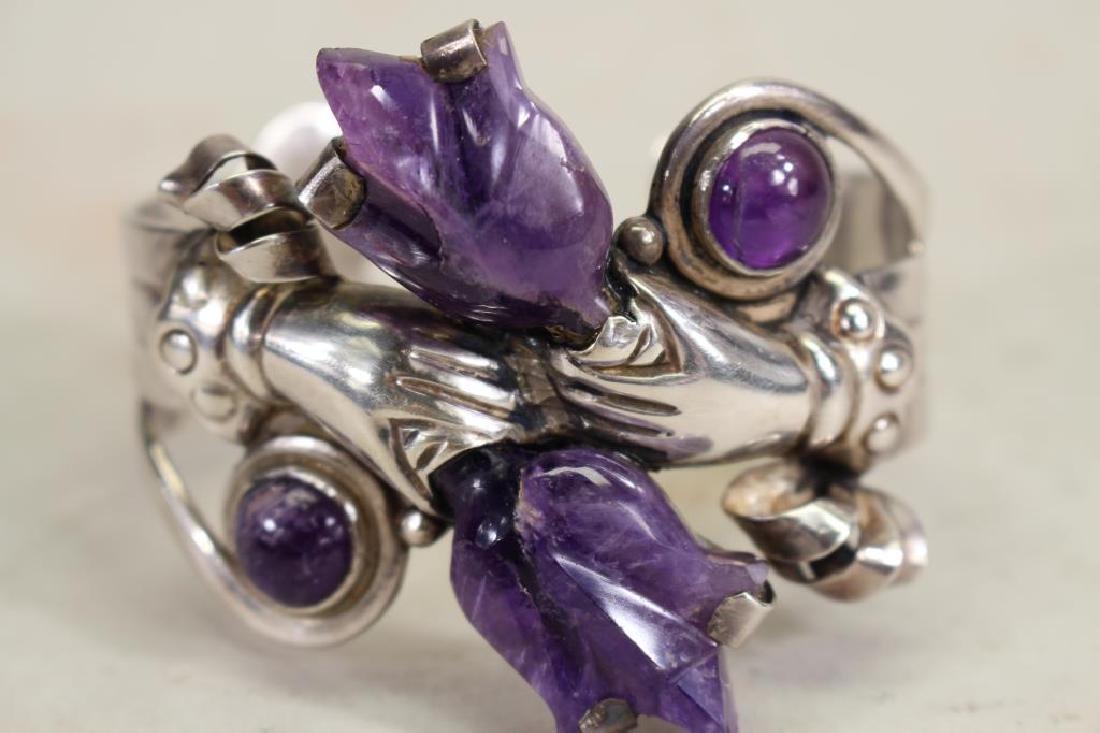 Mexican Silver & Amethyst Bracelet - 2