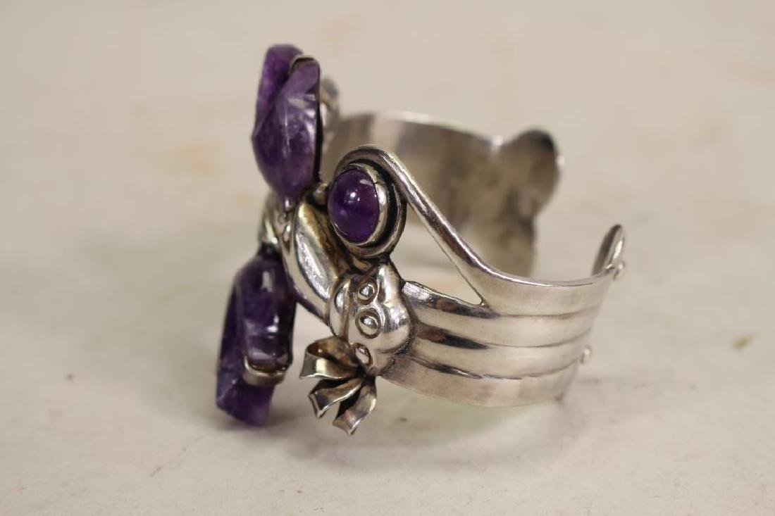 Mexican Silver & Amethyst Bracelet - 3
