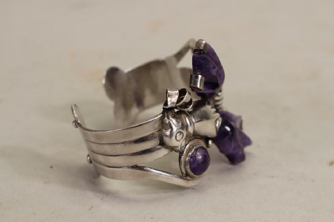 Mexican Silver & Amethyst Bracelet - 4