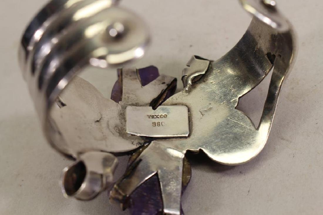 Mexican Silver & Amethyst Bracelet - 6