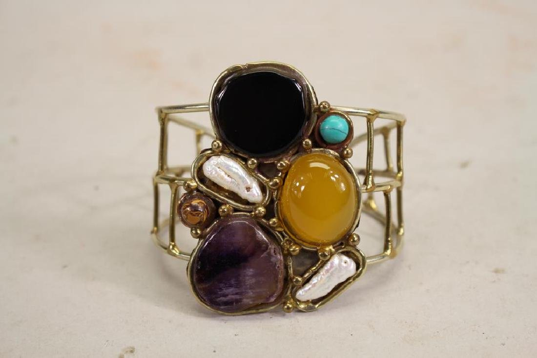 Semi Precious Stone and Brass Bracelet