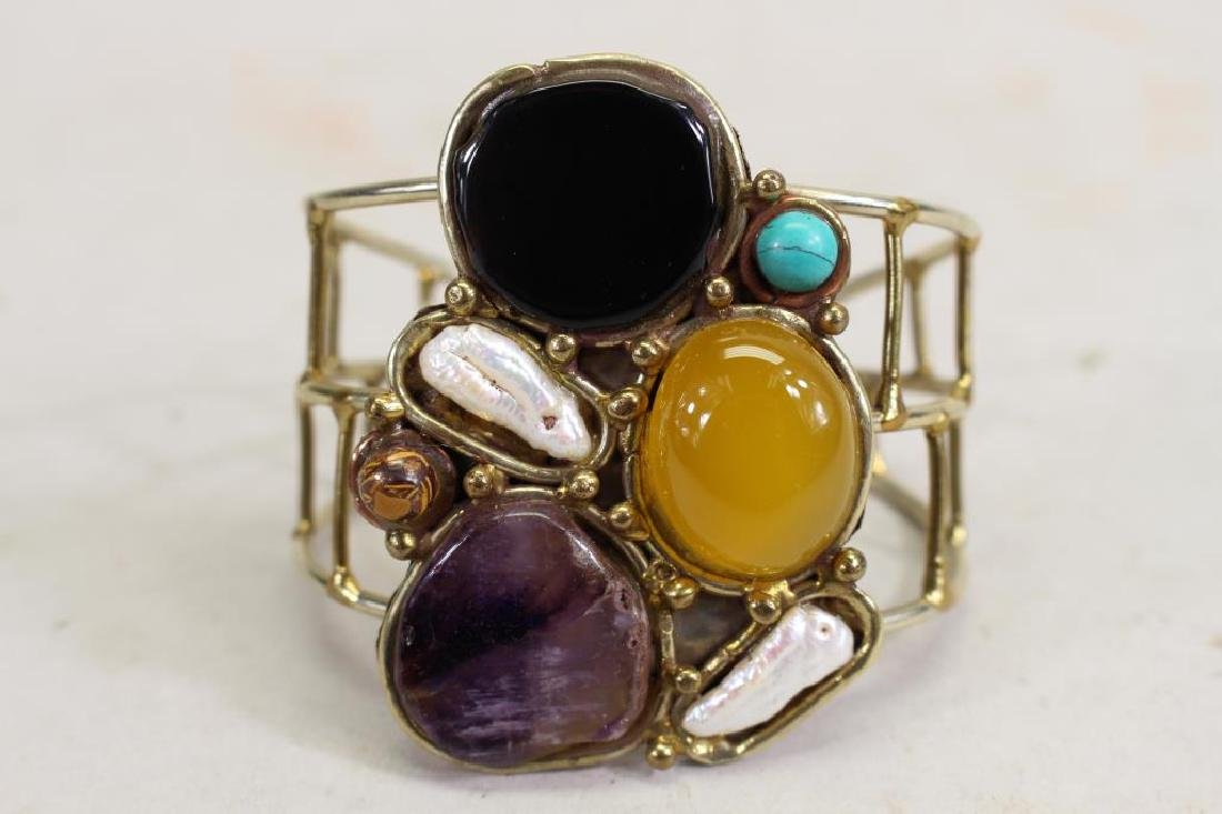 Semi Precious Stone and Brass Bracelet - 2