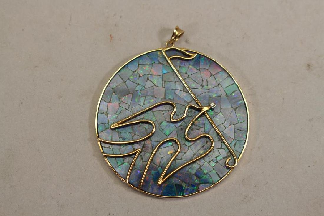 Stamped 14k Gold & Opal Dove Pendant