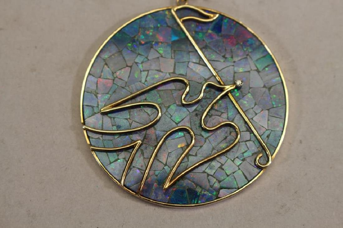 Stamped 14k Gold & Opal Dove Pendant - 2