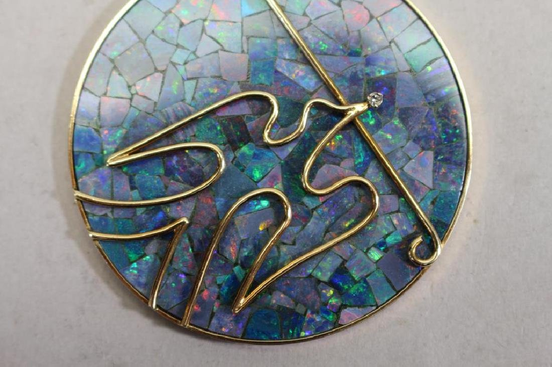 Stamped 14k Gold & Opal Dove Pendant - 4