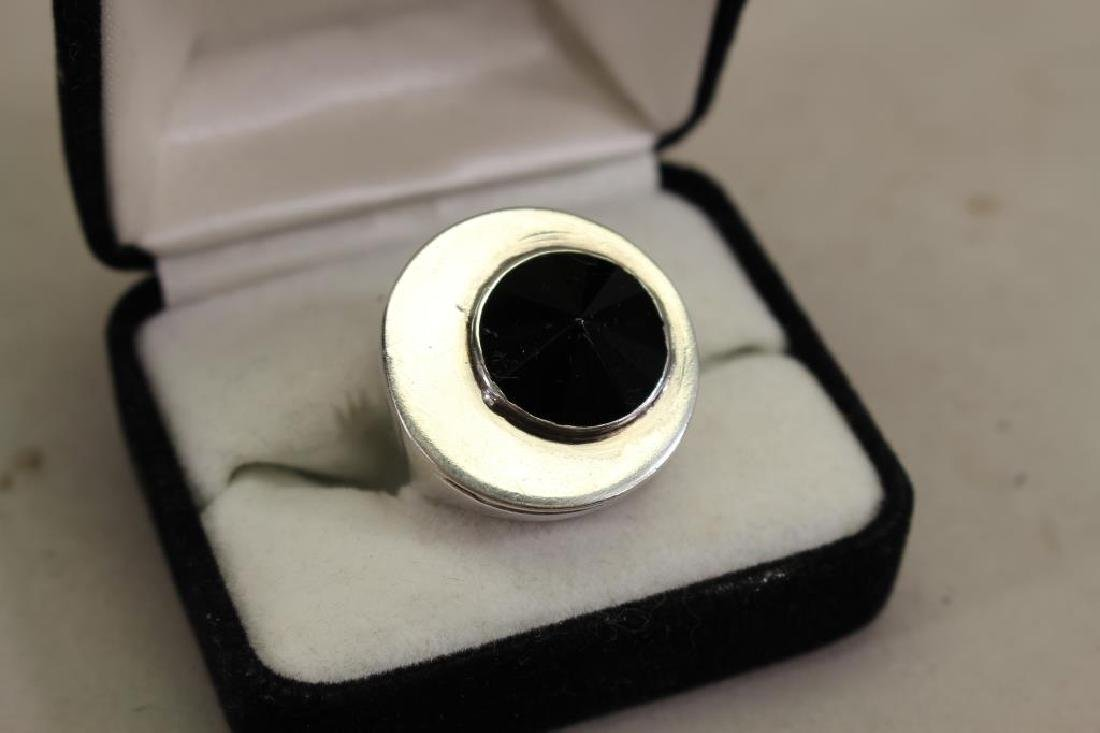 Mid 20th C. Sterling & Hematite Men's Ring