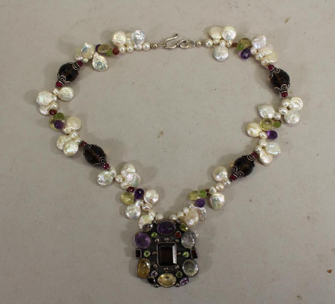 Semi Precious Stone & Sterling Necklace