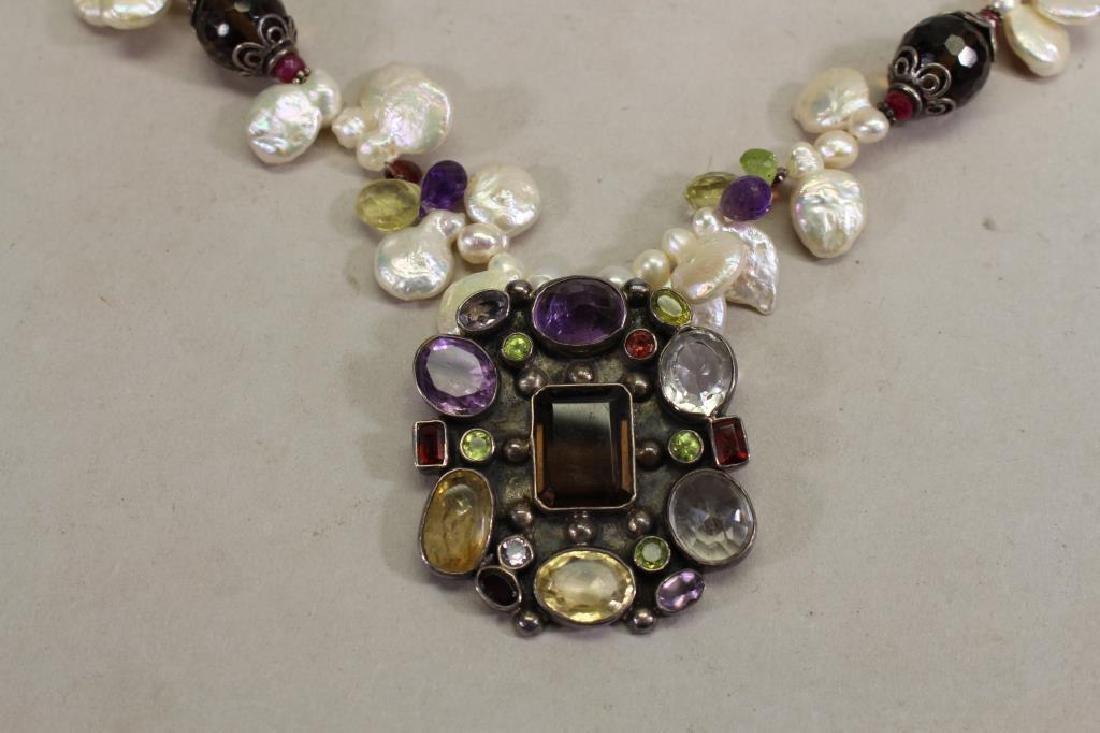 Semi Precious Stone & Sterling Necklace - 2