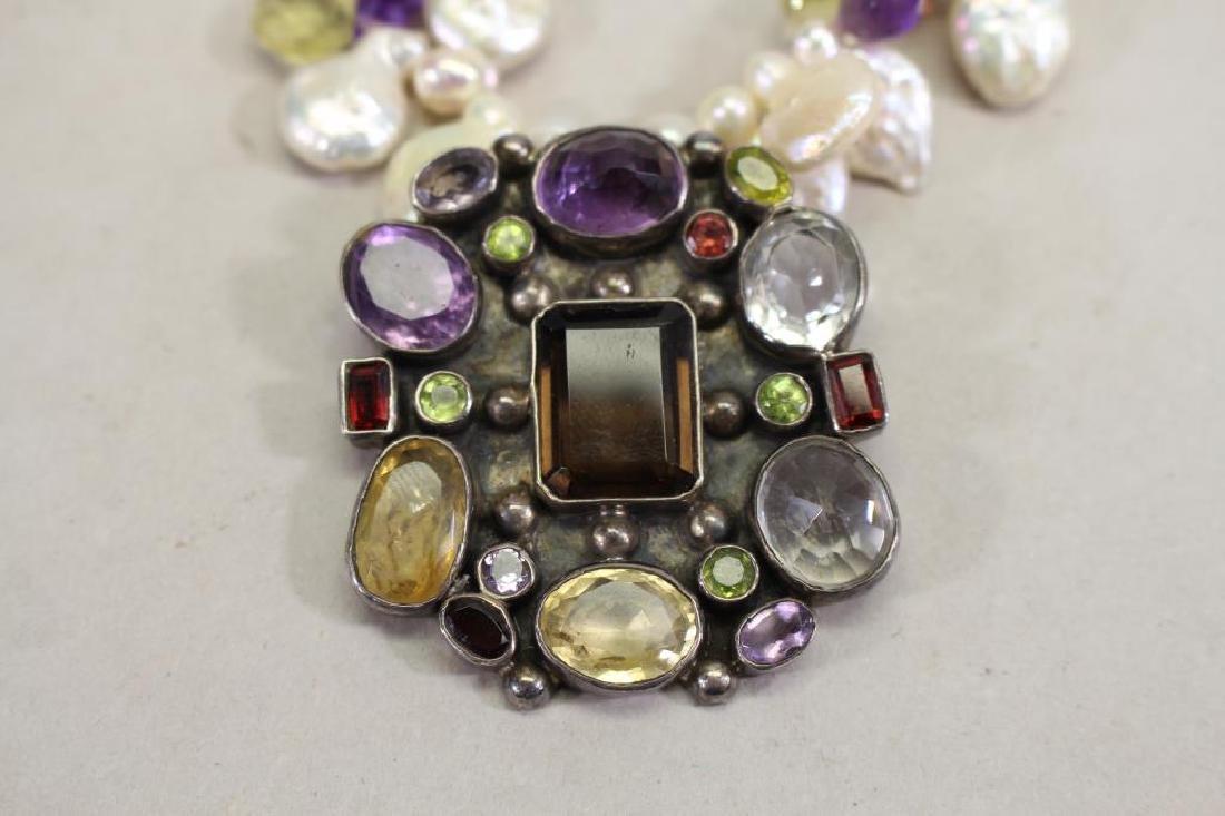 Semi Precious Stone & Sterling Necklace - 3