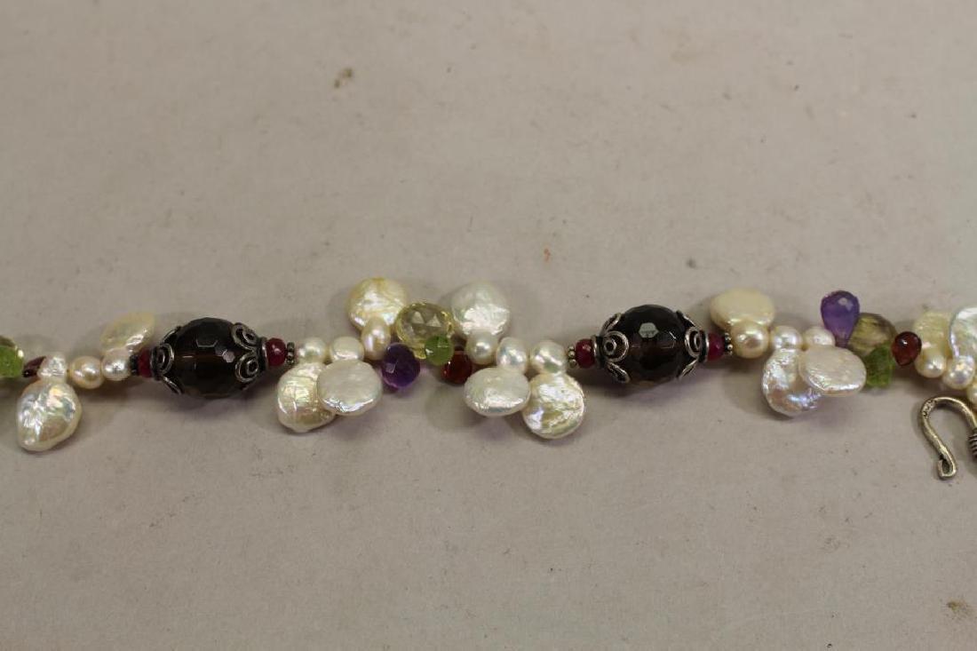 Semi Precious Stone & Sterling Necklace - 4