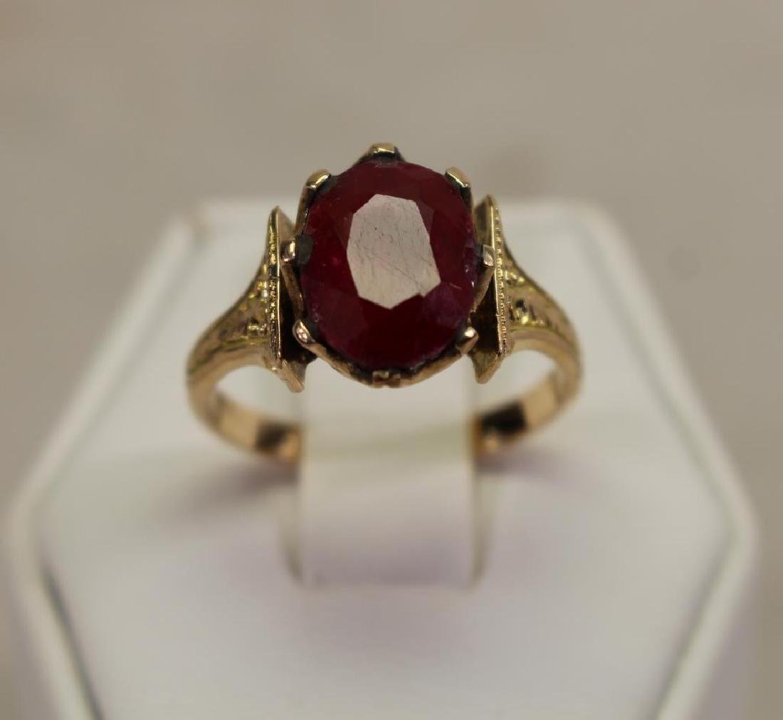 Victorian Style 18k Gold & Ruby Ring