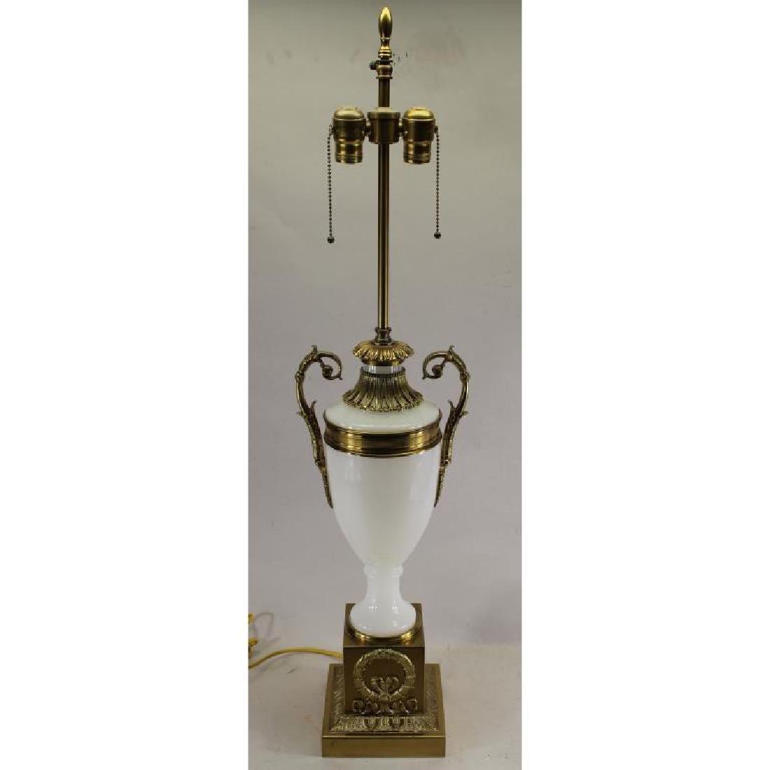 French Opaline Glass Lamp, Brass Mounts