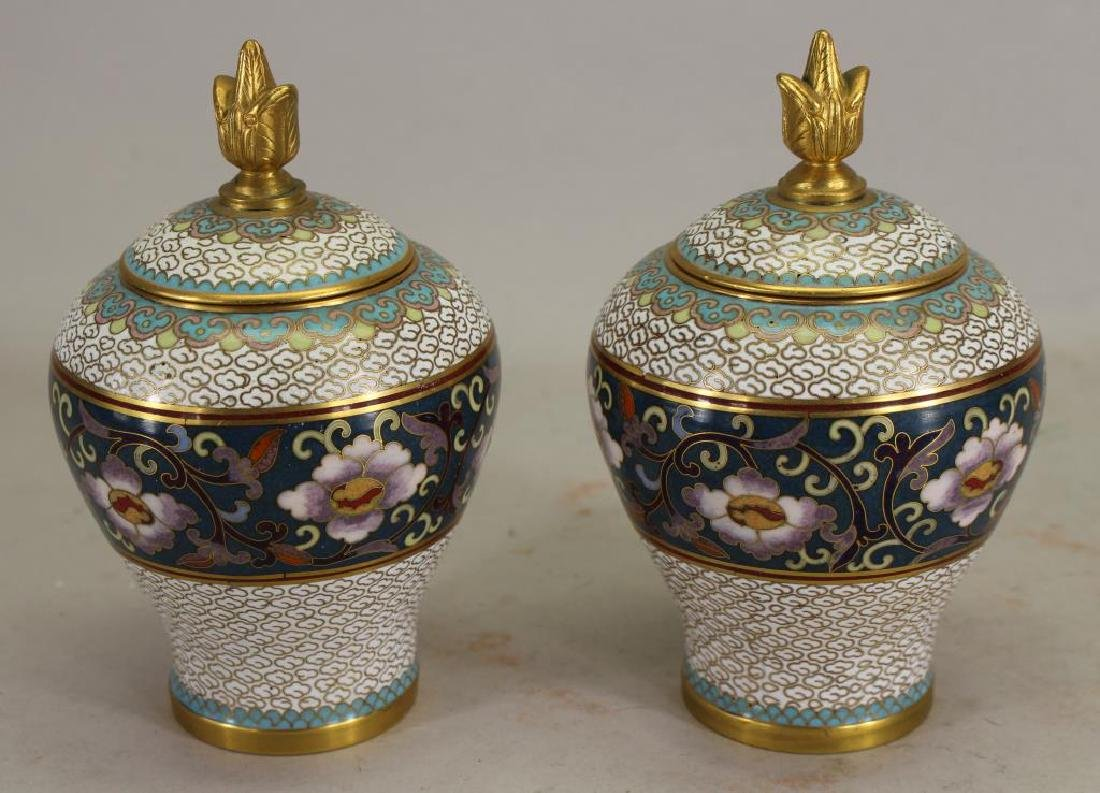 Chinese Cloisonne Covered Jars