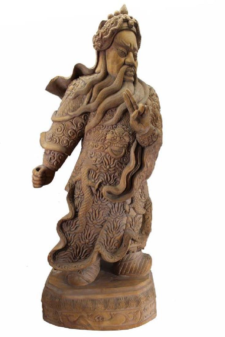 Vintage Chinese Carved Wooden Chinese Warrior