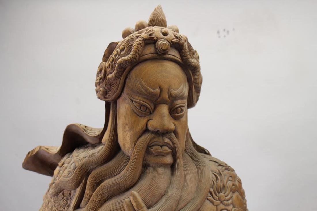 Vintage Chinese Carved Wooden Chinese Warrior - 2