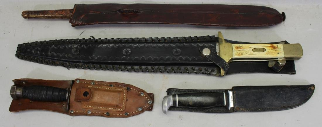 Collection of (4) Assorted Knives with Sheath