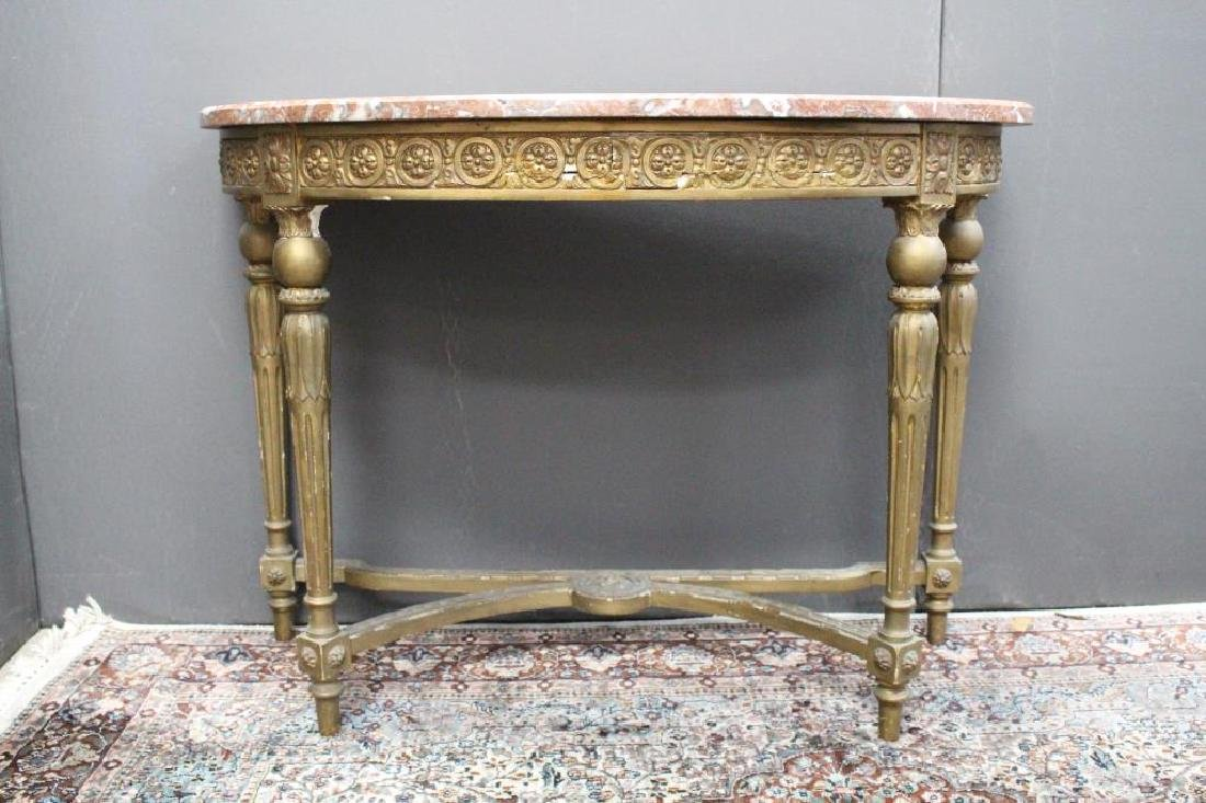 French Gilt Marble Top Console Table