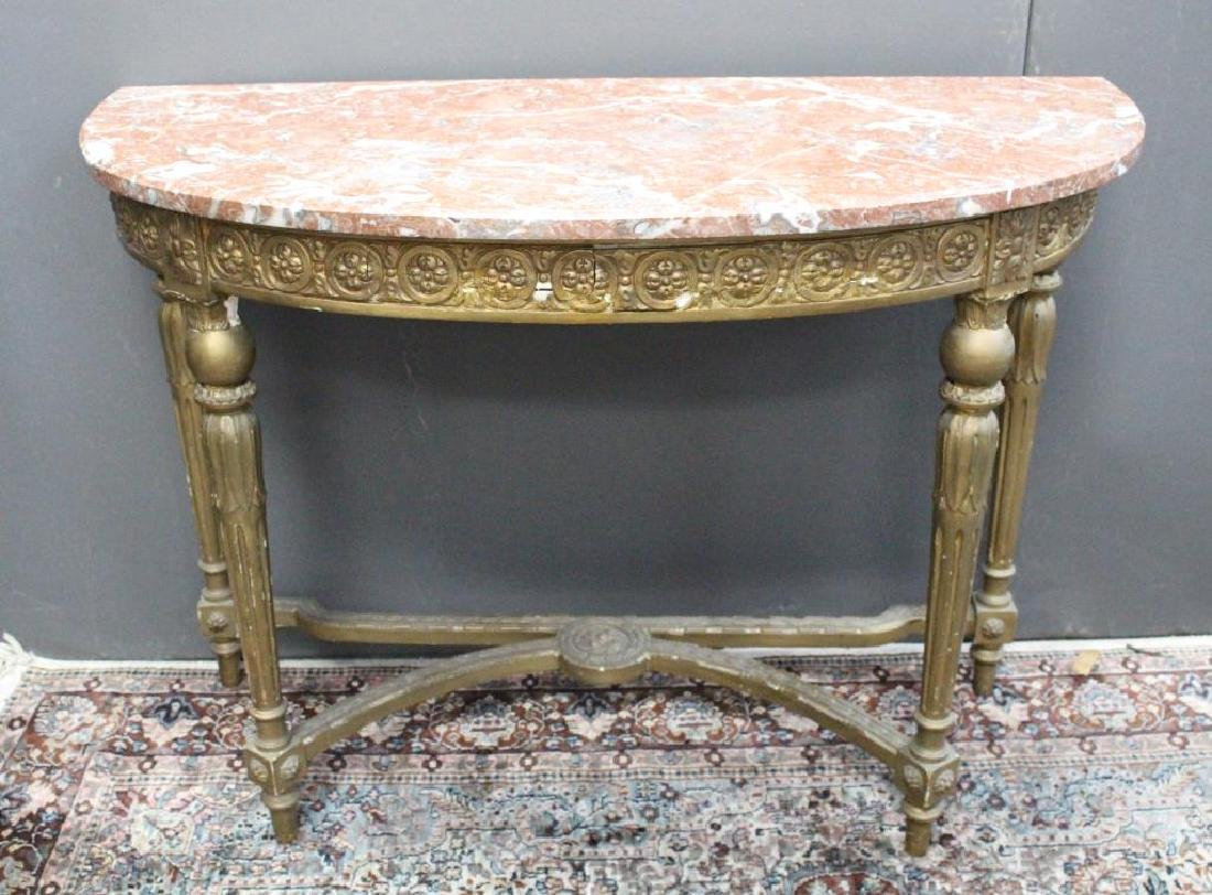 French Gilt Marble Top Console Table - 2