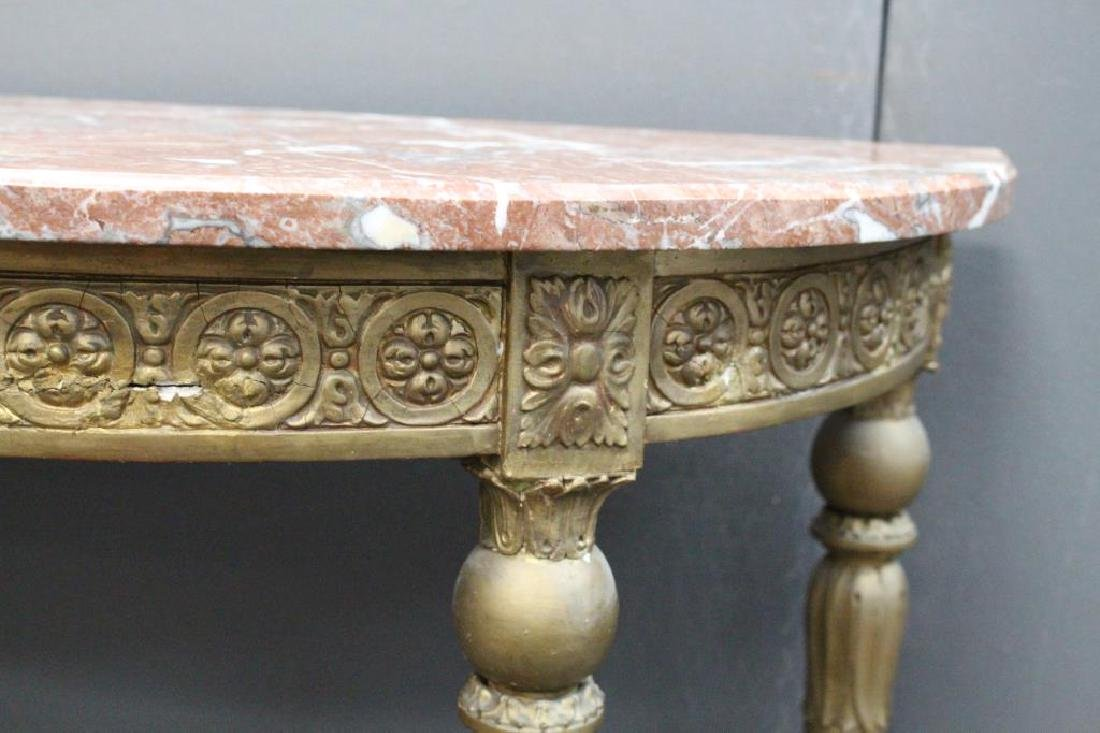 French Gilt Marble Top Console Table - 3