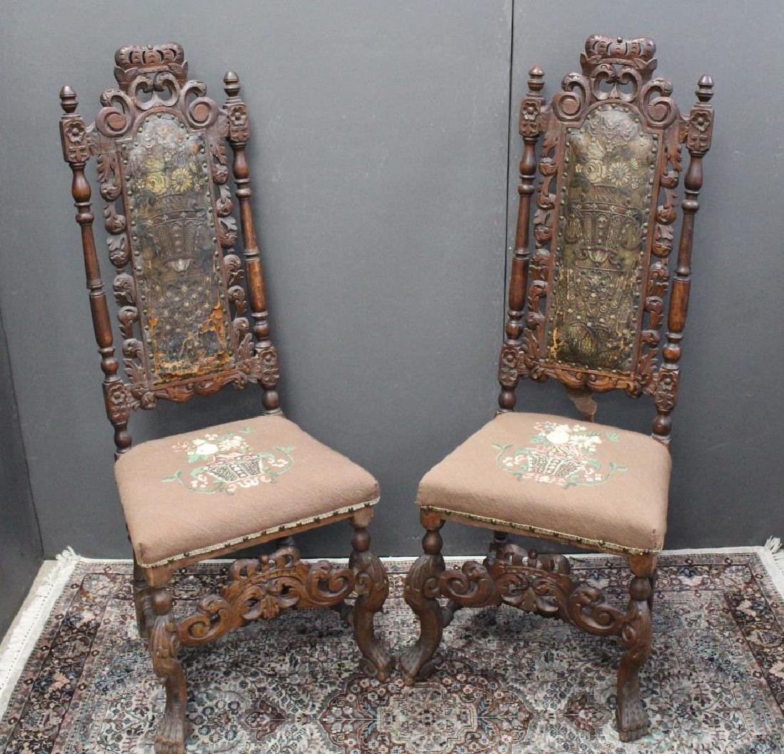 (2) Carved/Upholstered Antique European Chairs