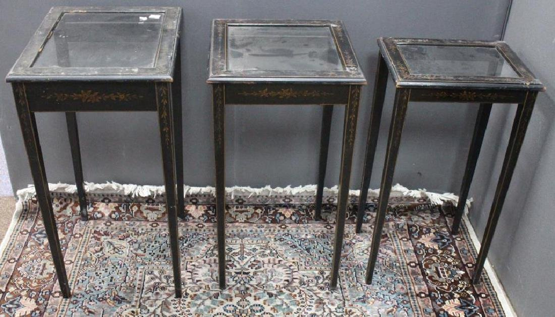 (3) Antique Wooden Nesting Tables