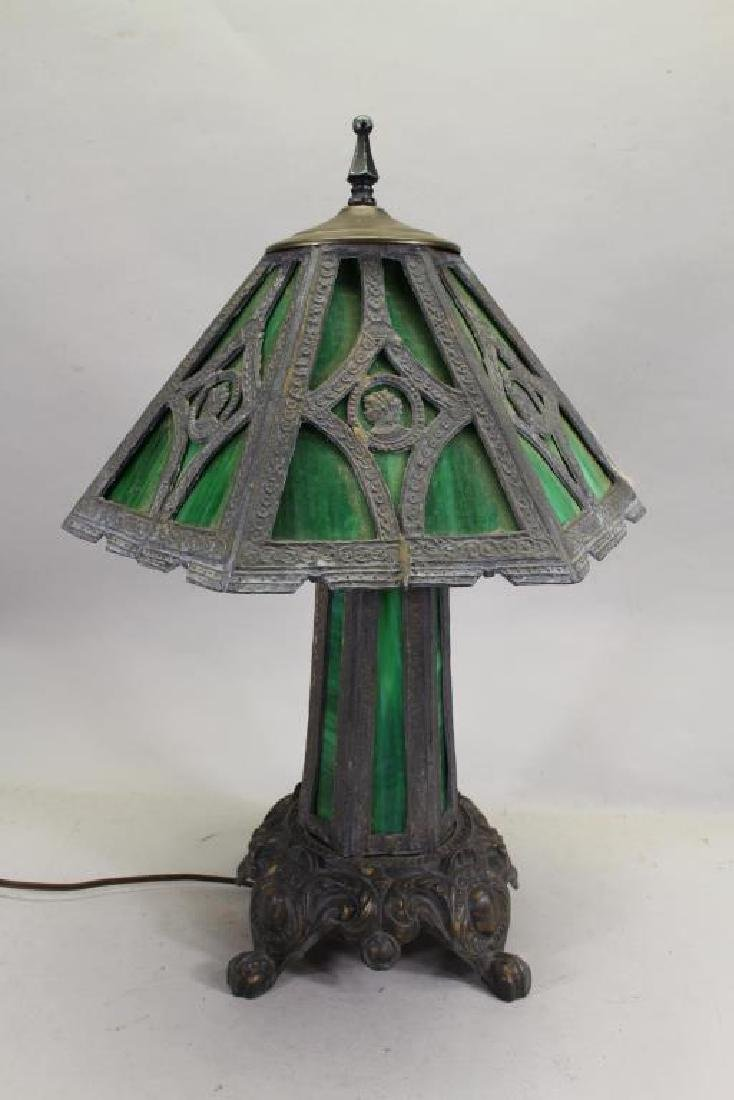 Green Slag Glass Lamp