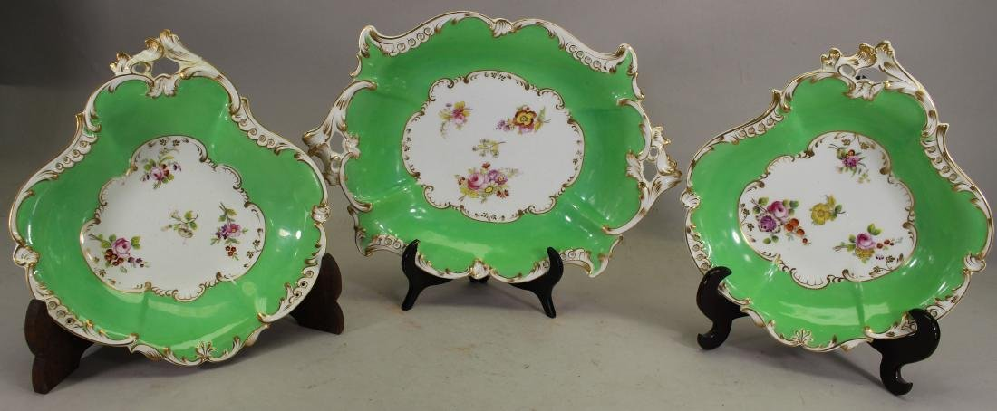 (3) French Gilt Porcelain Floral Dishes