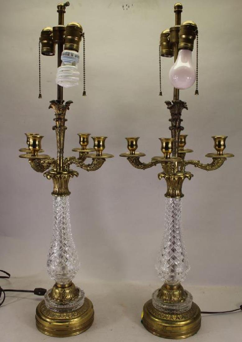 (2) Four Arm Bronze/Glass Candelabra Form Lamps