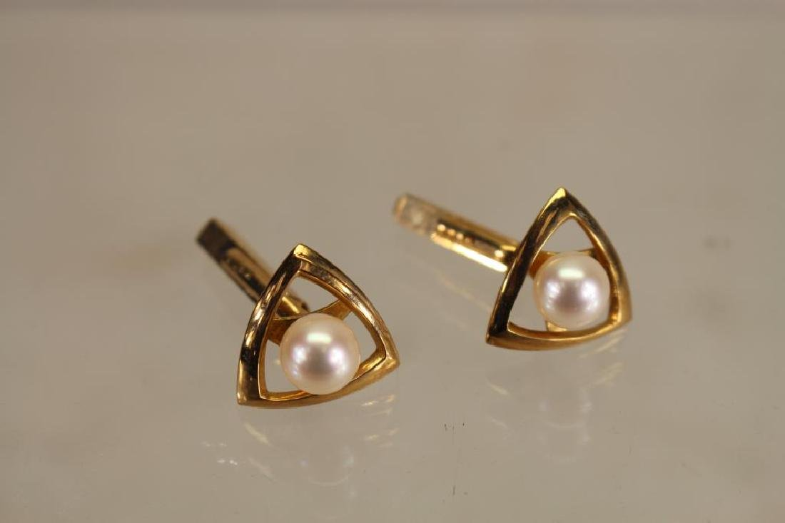 14k/Pearl Cuff Links