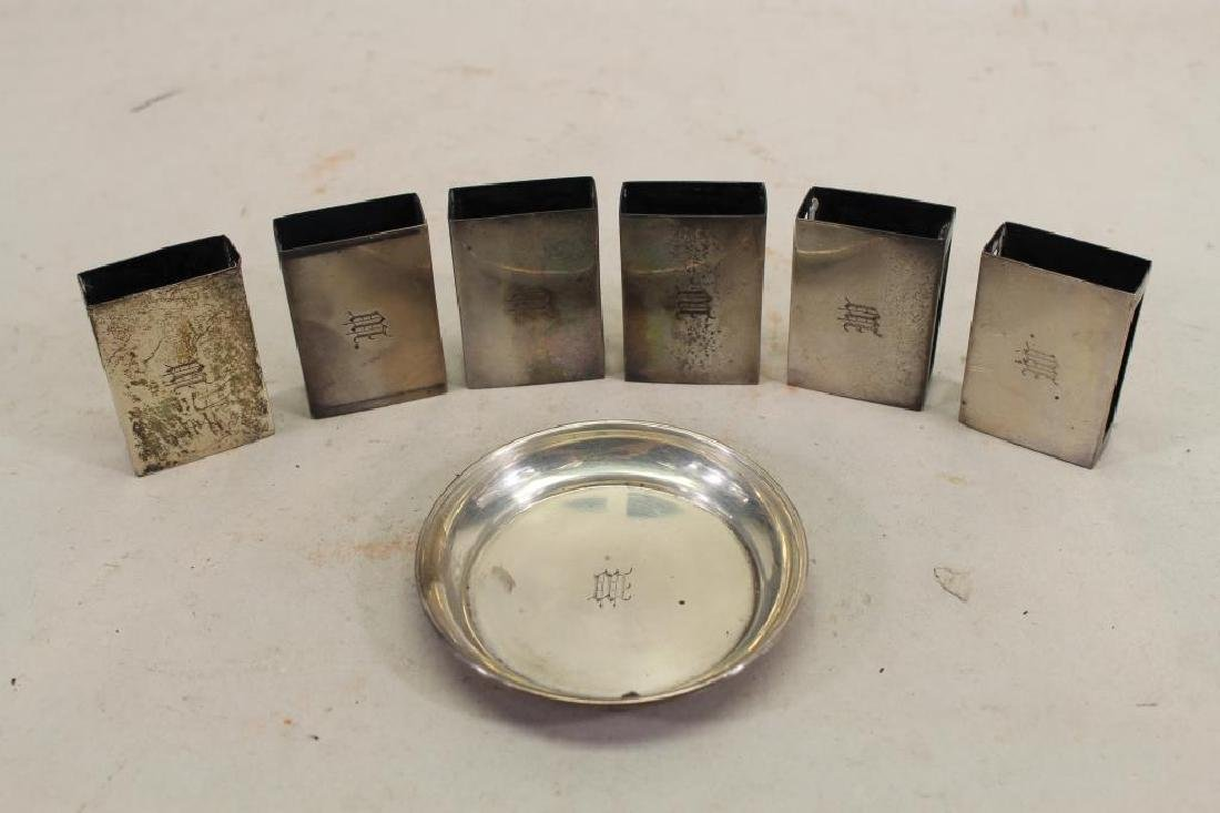 (6) Sterling Matchbox Covers/ 1 Sterling Tray