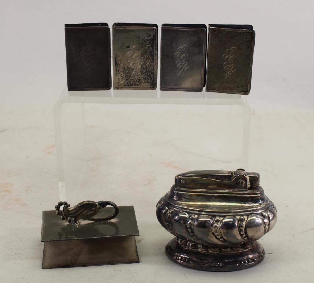 (4) Sterling Matchbox Covers & Plate Lighter