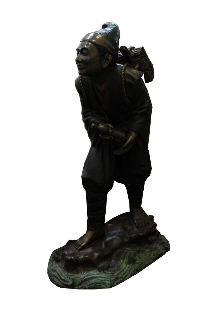 Large Japanese Bronze Traveler