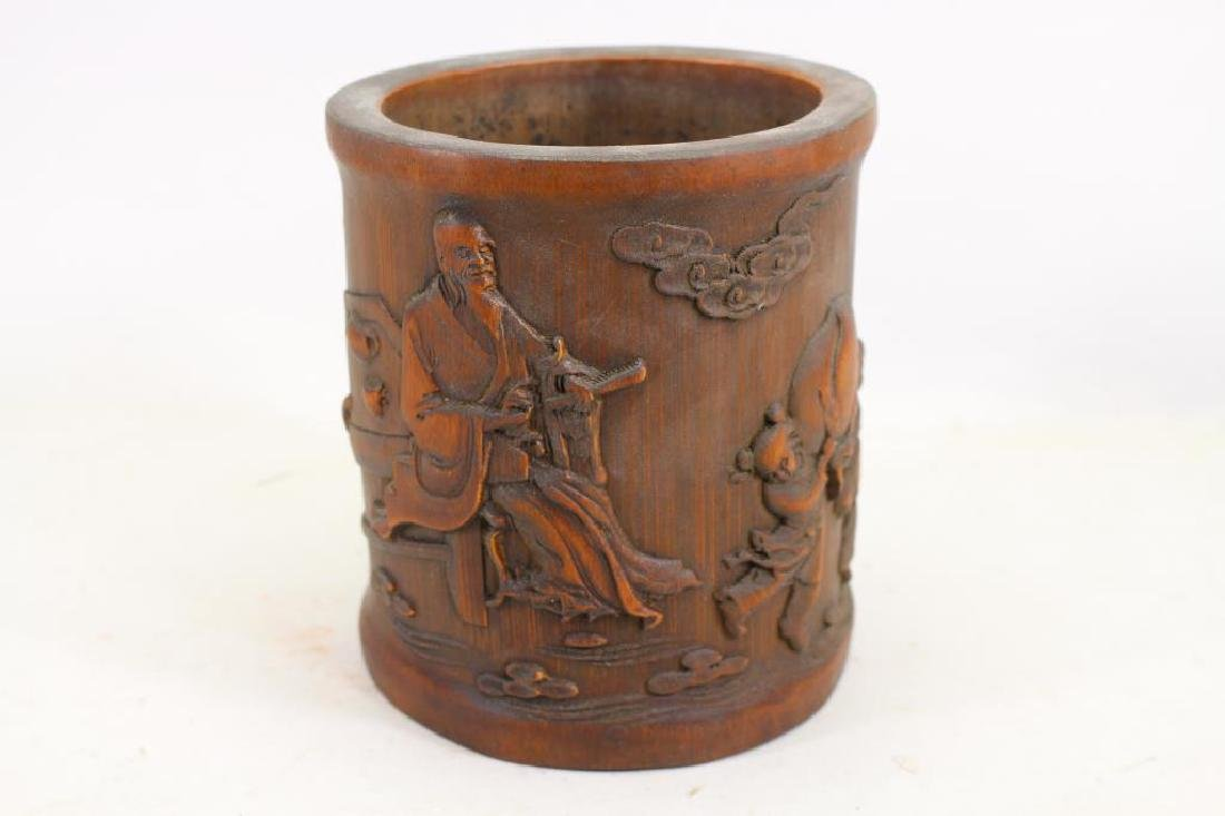 Chinese Carved Wooden Figural Brush Pot
