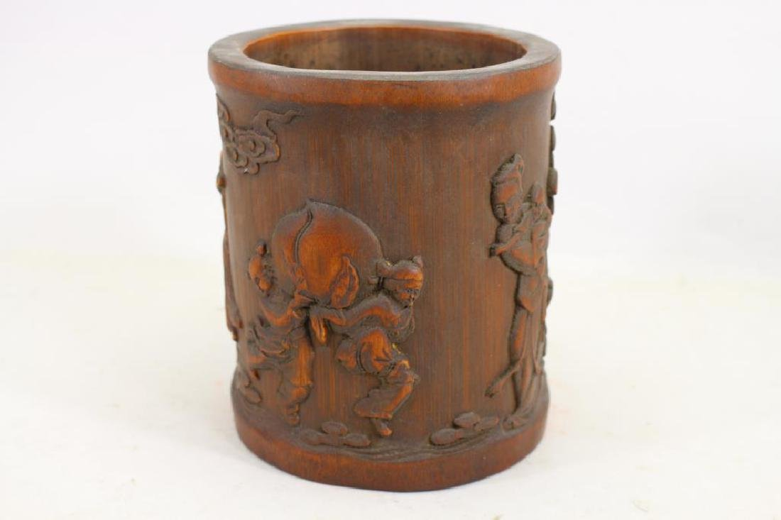 Chinese Carved Wooden Figural Brush Pot - 2
