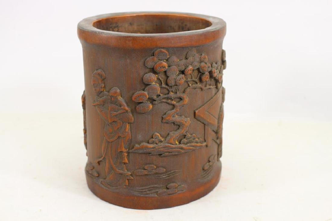 Chinese Carved Wooden Figural Brush Pot - 3