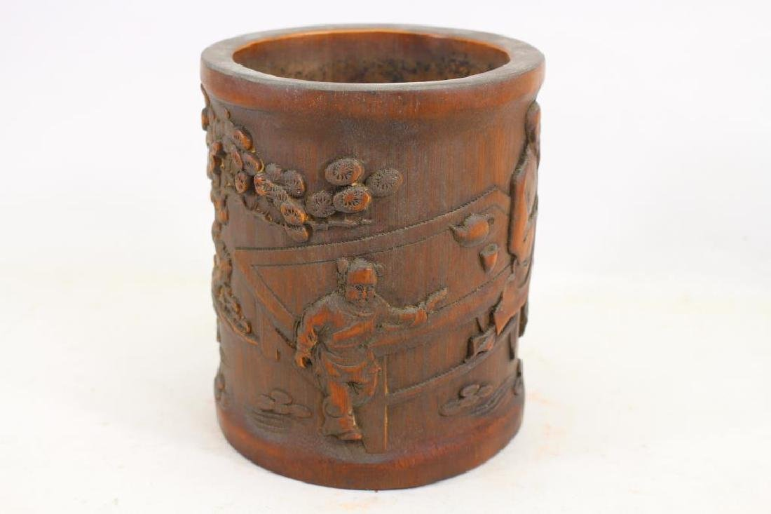 Chinese Carved Wooden Figural Brush Pot - 4