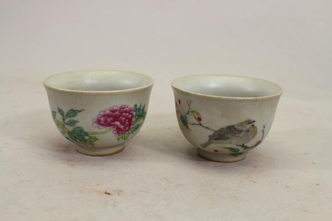 (2) Calligraphy Signed Chinese Porcelain Cups