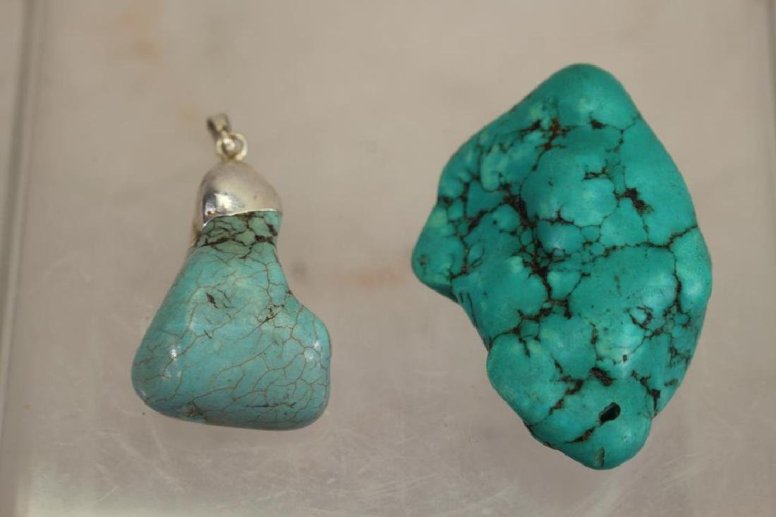 (2) Carved Turquiose Stone Pendants - 2