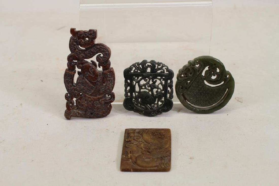 (4) Chinese Carved Stone Pendants